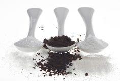 Sucre et crème de café Images libres de droits