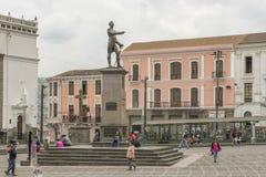 Sucre monument på Santo Domingo Square i Quito Ecuador Royaltyfri Foto