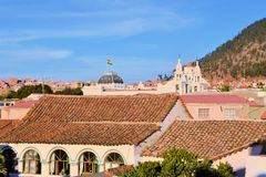 Sucre-Stadtbild mit Dächern, Verfassungskapital stockfoto