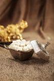 Sucre turc réglé avec le lokum Photos stock