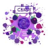 Sucrerie Blackberry Lolly Dessert Colorful Icon Choose votre affiche de café de goût Photo libre de droits