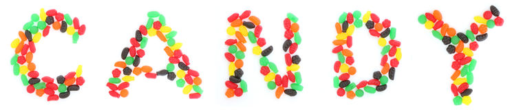 Sucrerie d'orthographe de Jelly Fruit Candy Photos stock