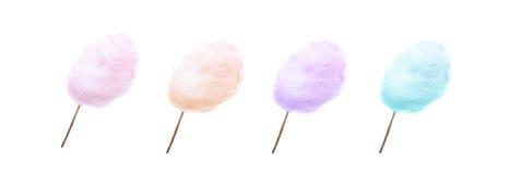 Sucrerie de coton dans quatre couleurs différentes Photos stock