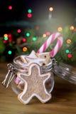 Sucrerie en bois Cane Vertical Festive Ton de fond de lumières de Noël de concept de carte de nourriture de Noël de bonhomme en p photo stock