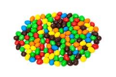 Sucrerie sur les bonbons blancs à fruit de background Photographie stock libre de droits