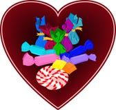 Sucreries colorées au coeur Sucreries tirées par la main, lucette illustration de vecteur
