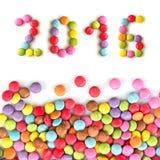 2016 sucreries colorées d'isolement sur le blanc Images libres de droits