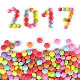 2017 sucreries colorées d'isolement sur le blanc Photos libres de droits
