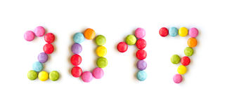 2017 sucreries colorées d'isolement sur le blanc Image stock