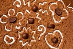 Sucreries de chocolats de poudre de cacao Images libres de droits