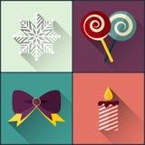 Sucreries de Noël incluses par paquet d'icône de nouvelle année, flocon de neige, bougie, arc Images libres de droits