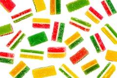 Sucreries de sucre vertes, jaunes et rouges de gelée image stock