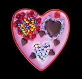 Sucreries en forme de coeur de chocolat et de bonbon mou Photographie stock libre de droits