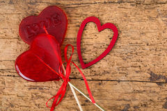 Sucreries en forme de coeur pour la valentine Photos stock
