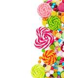 Sucreries et lucettes colorées Vue supérieure Image stock