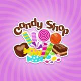 Sucrez le fond de vecteur de bonbons avec les sucreries et les lucettes colorées illustration libre de droits