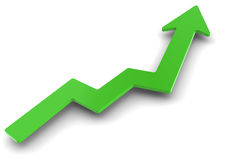 Sucsess graph. Green success graph arrow going up stock illustration