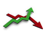 Sucsess graph. Green and red success graph arrow going up and down stock illustration