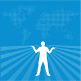 Sucsessfull men figure. An illustration of sucsessfull men figure with world map background Royalty Free Stock Photo