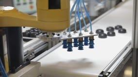 Suction Cup Vacuum. At Robotic Arm Conveyor Belt stock video