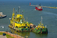 Suction dredger, deepening the port channel Stock Images