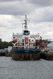 A suction dredger ship on berth Royalty Free Stock Photo