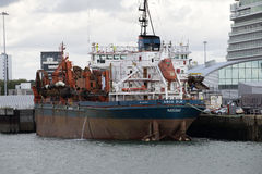 A suction dredger ship on berth Royalty Free Stock Photos