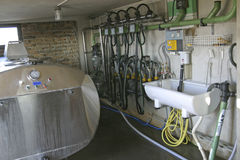 Suction Milking Machines. New suction Milking Machines installed on farm Royalty Free Stock Image