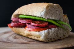 Sucuk Ekmek / Sausage in Bread Sandwich Royalty Free Stock Photography