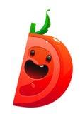 Suculento brilhante do personagem de banda desenhada do tomate em um fundo branco Imagens de Stock Royalty Free