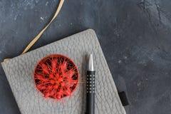 Suculento con las agujas rojas, el cuaderno gris y la cacerola en fondo de la pizarra con el espacio de la copia fotos de archivo