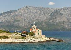 Sucuraj Lighthouse on island Hvar, Croatia stock image