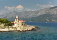 Sucuraj Lighthouse on island Hvar, Croatia stock photography
