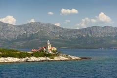 Sucuraj Lighthouse on island Hvar, Croatia stock images