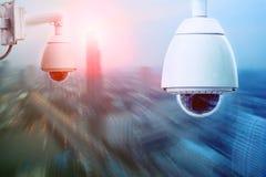Sucurity cctv照相机和都市安全保护系统 图库摄影