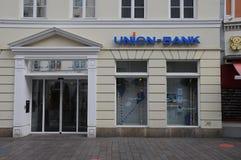 Sucursal bancaria de la unión en Flensburg Alemania imágenes de archivo libres de regalías