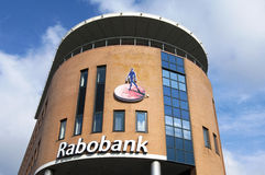 Sucursal bancaria de Rabo con nombre y el logotipo de compañía Fotografía de archivo libre de regalías