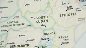 Sudán del sur en un mapa con defocus ilustración del vector
