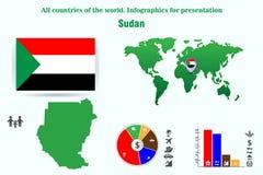 sudán Todos los países del mundo Infographics para la presentación foto de archivo