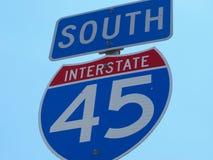 Sud de signe d'autoroute nationale Photographie stock libre de droits