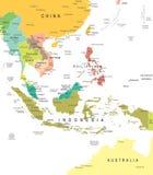 Sud-est asiatico - mappa - illustrazione Fotografia Stock