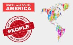 Sud et personnes de population de carte de l'Amérique du Nord et filigrane corrodé illustration de vecteur
