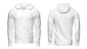 Sudadera con capucha blanca, maqueta de la camiseta, aislada en el fondo blanco Imagen de archivo libre de regalías