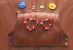 Sudadera con capucha con los botones y los corazones Imagenes de archivo