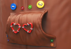 Sudadera con capucha con los botones y los corazones Fotografía de archivo libre de regalías