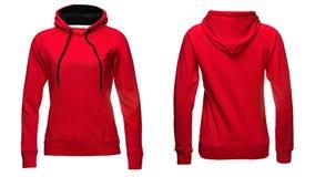Sudaderas con capucha rojas del ` s de las mujeres, maqueta de la camiseta, aislada en el fondo blanco fotos de archivo libres de regalías