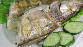 Sudak steamed. Laid on lettuce leaves boiled fish framed carrots and olives stock video footage