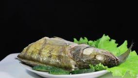 Sudak steameds. Laid on lettuce leaves boiled fish framed carrots and olives stock video footage