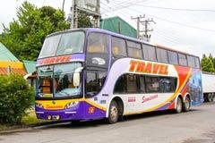 Sudamericanas F50. PUCON, CHILE - NOVEMBER 20, 2015: Bright interurban coach Sudamericanas F50 in the city street Royalty Free Stock Photo