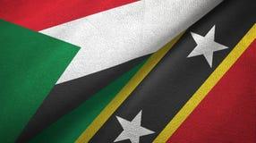 Sudan, święty i dwa flagi tekstylny płótno, tkaniny tekstura royalty ilustracja